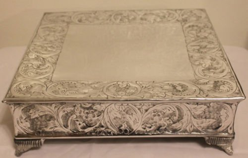 16 Inch Silver Square Wedding Cake Stand Plateau Silver Cake Plateau