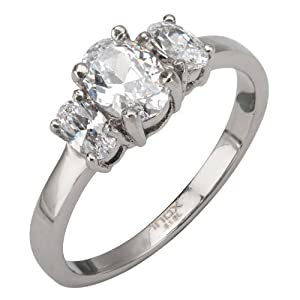 Women's Stainless Steel Engagement Ring- 7