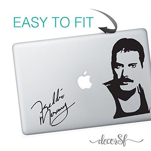 Adesivo in vinile per MacBook, motivo Freddy Mercury, colore nero
