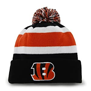 Cincinnati Bengals Black Cuff Breakaway Beanie Hat with Pom - NFL Cuffed Winter Knit Toque Cap