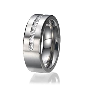 8MM Titanium ring wedding band with 9 large Channel Set CZ