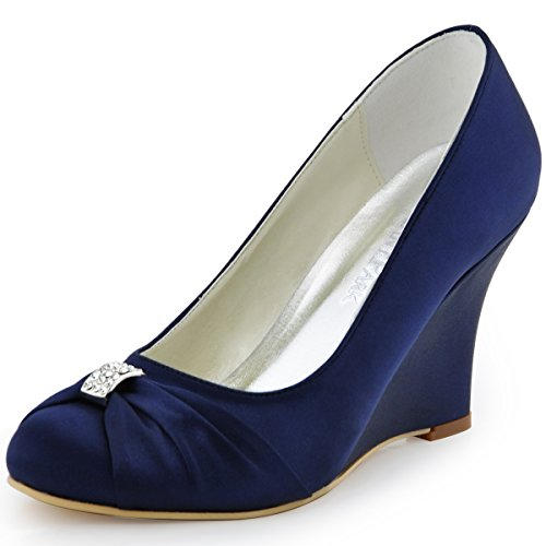 ElegantPark EP2005 Women Pumps Closed Toe Pumps Wedges Heel Rhinestone Satin Evening Wedding Dress Shoes Navy Blue US 8