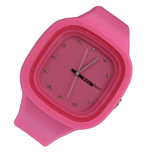 Coromose Fashion Children Silicone Band Jelly Quartz Sports Wrist Watch (Pink)
