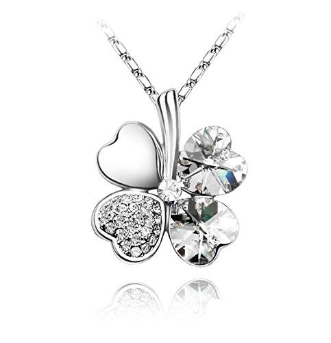 KATGI Fashion Austrian Crystal Lucky Four Leaf Clover Pendant Necklace (CLEAR CRYSTAL)