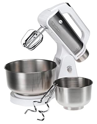 West Bend 41135 12-Speed Stand Mixer with 2 Mixing Bowls, White