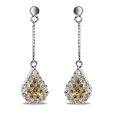 1CT Brown and White Diamond Earrings in 14k White Gold