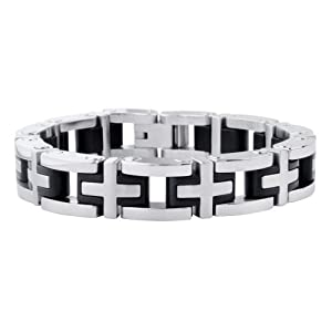 Inox Jewelry Adjustable Silver Steel with Inlaid Black Rubber Cross Design Bracelet For Men available at Amazon for Rs.2405