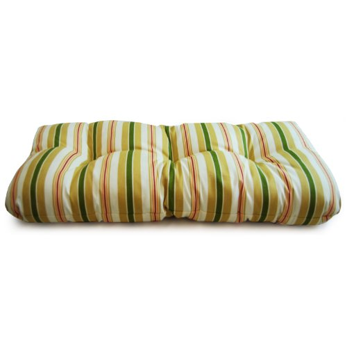 Wicker Settee/bench Cushion- Alex Stripe Gold picture