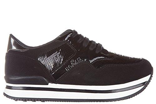 Hogan scarpe sneakers bambina camoscio nuove j222 allacciato nero EU 34 HXC2220N624EOG0564