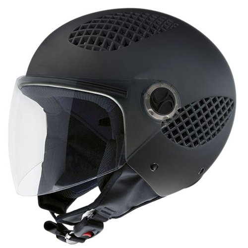 NZI 150243G093 B-Cool Matt Black, Casco da Moto, Gomma Nera, Taglia XL