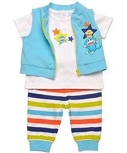 "Baby Boy Sock Monkey 3 Piece Zip-up Vest, Tee, & ""Turn Me Around"" Pants"