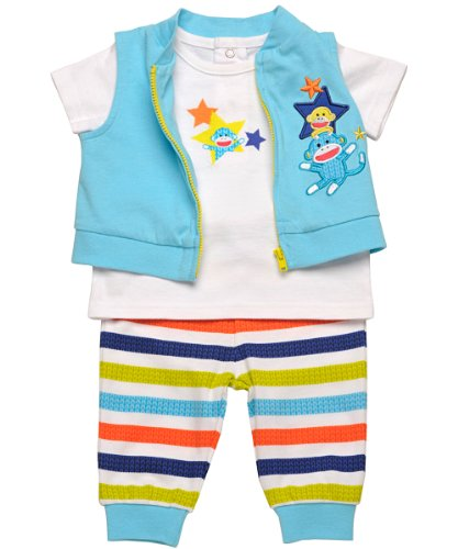 "Baby Boy Sock Monkey 3 Piece Zip-up Vest, Tee, & ""Turn Me Around"" Pants"
