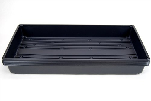 """5 Pack Of Durable Black Plastic Growing Trays (Without Drain Holes) 21"""" X 11"""" X 2"""" - Flowers, Seedlings, Plants, Wheatgrass, Microgreens & More"""