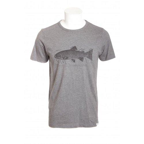 Penfield mens diagram short sleeve crew neck t-shirt in charcoal grey melange MED