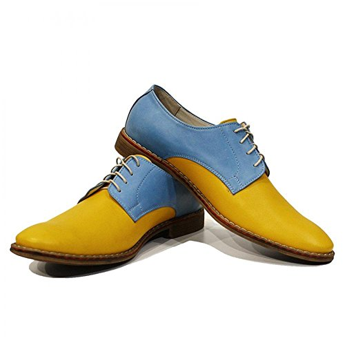 Modello Gino - 45 UE - fatti a mano scarpe di cuoio italiane colorate Oxfords Casual Shoes formale Premium Unique pizzo regalo uomini di travestimento dell'annata delle