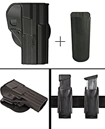 Sig Sauer Sigtac 220, 225, 226, 227, 228, 229, 250, 320, 2009, 2022, 2340, MK25, M11-A1 Right Hand Paddle Holster, Black + Ultimate Arms Gear 9mm/.40/.45 Magazine Belt Clip Pouch Holder