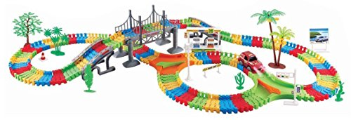 City Bridge Big Deluxe 257 Pcs Flexible Toy Track Playset W/ Battery Operated Toy Car, Accessories, Endless Fun & Combinations