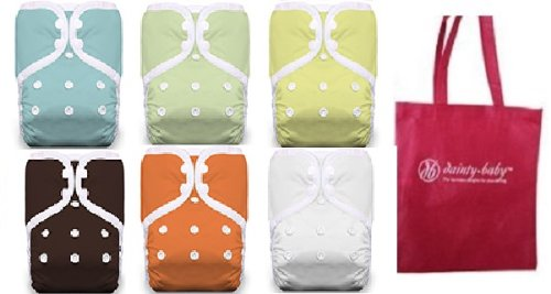 Thirsties One Size Cloth Pocket Diapers, Snap, 6 Pack Gender Neutral Colors with Dainty Baby Reusable Bag