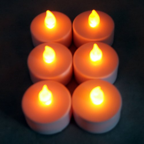 Pack Of 6 - Flameless Led Tea Lights, White With Amber Flame, Battery Operated Flickering Tealights, Tealight Candle, Wedding, Home Décor, Christmas, Party