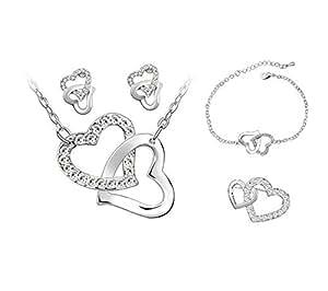 Parure Quatre Pièces Collier, Boucles d'oreille, Bracelet, Broche Deux Coeurs Entrelacés Cristal Autrichien - Blanc Diamant
