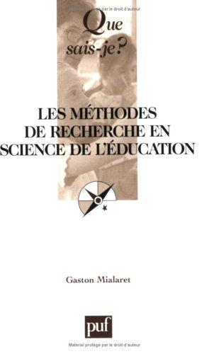 Méthodes de recherche en science de l'éducation