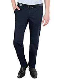 Only Vimal Men's Blue Slim Fit Cotton Chinos - B01H1XT4I2