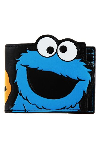 Sesame Street Cookie Monster Face Blue Bi-Fold Wallet