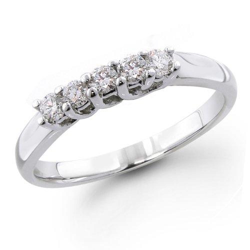 14K White Gold 1/4 ctw. Five - Stone Diamond Wedding / Anniversary Band (G-H;SI1-2) Size 6
