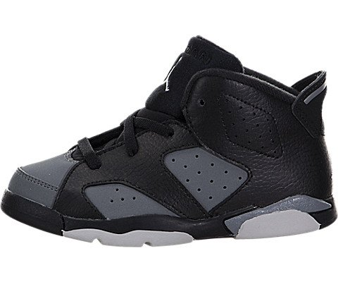 Nike Jordan Toddlers Jordan 6 Retro BT Black/White Cool Grey Basketball Shoe 7 Infants US