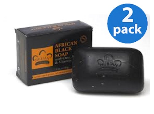 African Black Soap With Oat, Aloe & Vitamin E All Natural Ingredients 5 Oz. (2 Pack) Jabon Gl