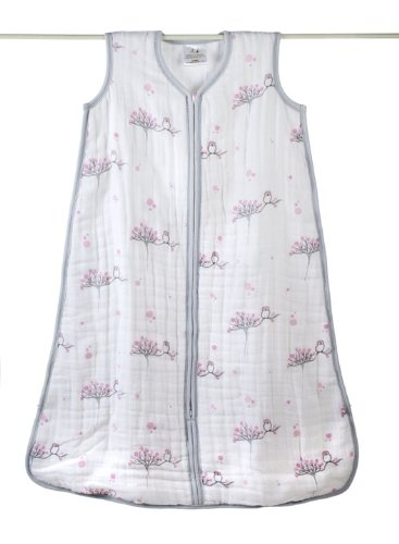 aden + anais Cozy Muslin Sleeping Bag, For The Birds, Owl, Small