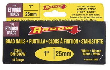 Arrow Fastener Bn1816W 1-Inch White 18 Gauge Brads