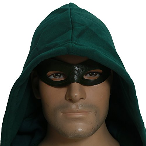 Men's New V2 Green Arrow Mask Oliver Queen Cosplay Black Eye Patch for Halloween