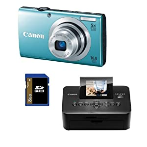 Canon PowerShot A2400 IS (Blue) 16.0 MP Digital Camera Bundle with Canon SELPHY CP900 Black Wireless Photo Printer and 8 GB SD Card