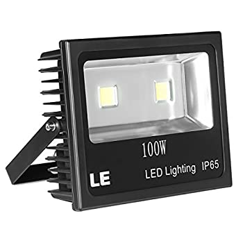 LE 100W Super Bright Outdoor LED Flood Lights, 250W HPS Bulb Equivalent, Waterproof IP65, 10150lm, Daylight White, 6000K, Security Lights, Floodlight, 2 Years Warranty