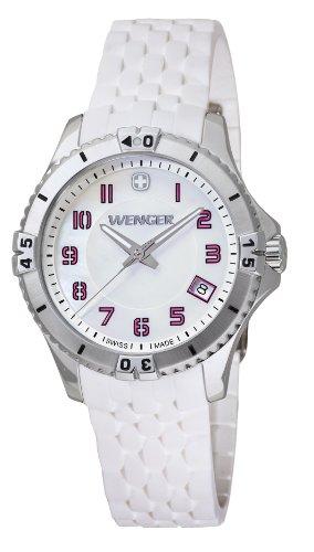 Wenger Squadron Lady 01.0121.103 - Reloj analógico de cuarzo para mujer, correa de silicona color blanco (agujas luminiscentes)