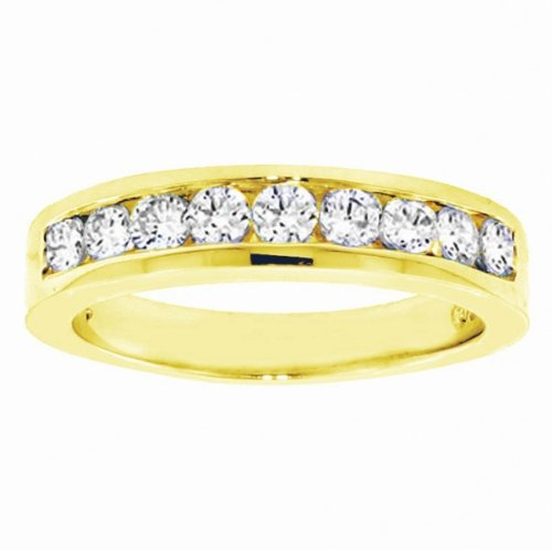 1.00 CT TW Channel Set Round Diamond Anniversary Wedding Ring in 18k Yellow Gold - Size 6.5