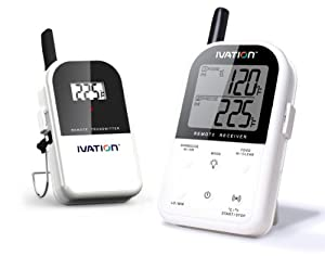 Ivation Long Range Wireless Dual 2 Probe BBQ Smoker Meat Thermometer Set - Monitor your Grill From up to 300 feet away