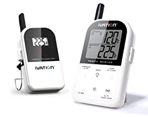Ivation Long Range Wireless Thermometer - Dual Probe - Remote BBQ, Smoker, Grill, Oven, Meat Thermometer - Monitors Food From Up To 300 Feet Away