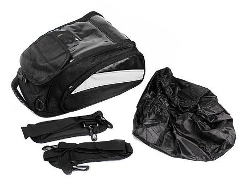 TMS Black Motorcycle Sport Bike Riding Magnetic Gas Tank Bag Backpack w/ Rain Cover (Motorcycle Gas Tank Cover compare prices)