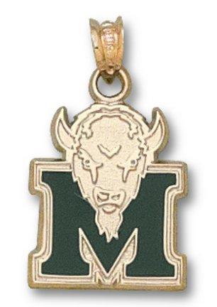 Marshall Thundering Herd Green Enamel M Marco 5 8 Pendant - 14KT Gold Jewelry by Logo Art