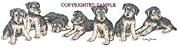 Airedale - Puppies in a Row by Cindy Farmer