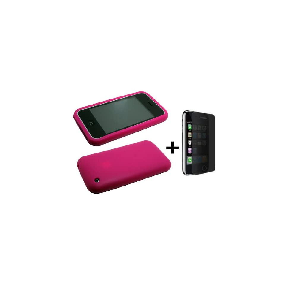 Hot Pink Silicone Soft Skin Case Cover for iPhone 3G ***BUNDLE WITH PRIVACY SCREEN PROTECTOR***