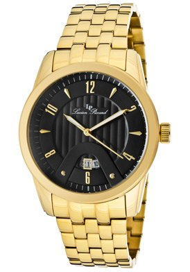 Lucien Piccard Men's LP-12355-YG-11 Diablons Black Dial Gold Ion-Plated Stainless Steel Watch