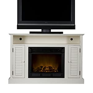 Sei Antebellum Media Console With Electric Fireplace Antique White Kitchen Dining