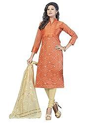 fabgruh Orange colour dress material