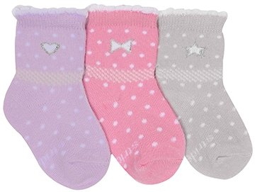 Stride Rite Socks Baby Girls Sweet Heart/Bow Quarter Pink 3Pairs - 6-12 Months front-751898