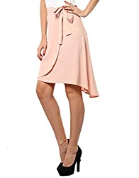 XnY Women's Wrap Front Skirt (SK 1020097_Nude_12)
