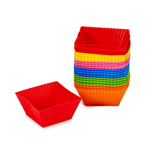#1 Non Stick Square Silicone Cupcake Cups 24 Pack - Rainbow Bright Standard Silicone Reusable Heat Resistant Baking Cups - Cupcake Molds / Liners - 24 Count