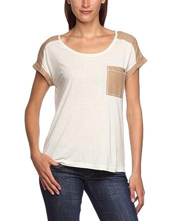 edc by ESPRIT Damen T-Shirt 053CC1K027, Gr. 38 (M), Weiß (128 broken white)